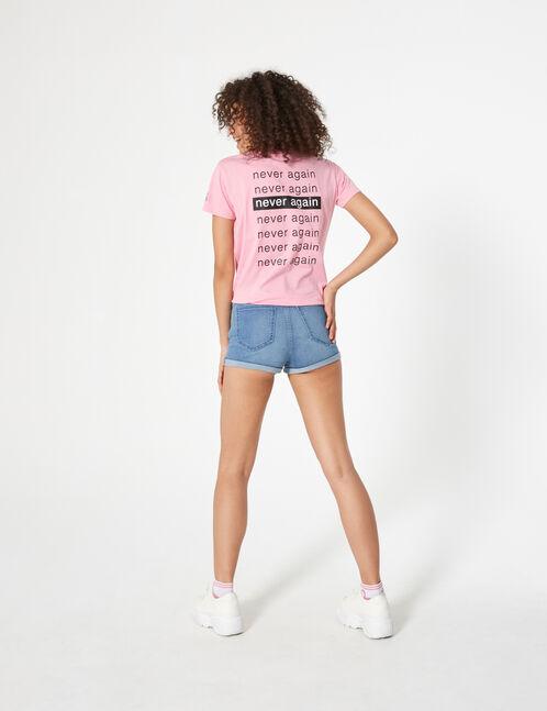 short en jean taille haute bleu ciel