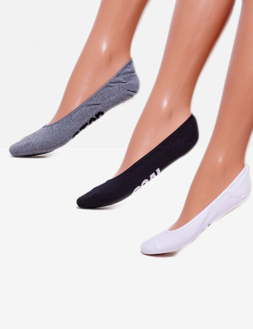 chaussettes à messages blanches, noires et grises