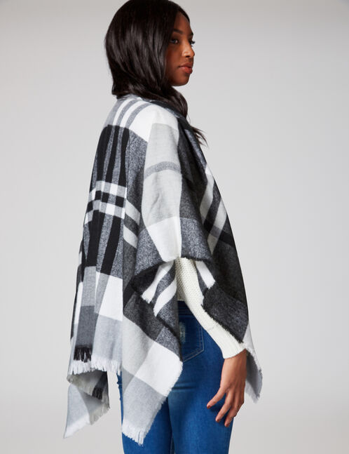 Black, grey and cream tartan scarf