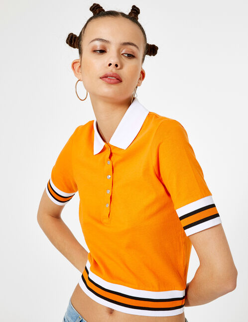 Orange, black and white polo-style T-shirt
