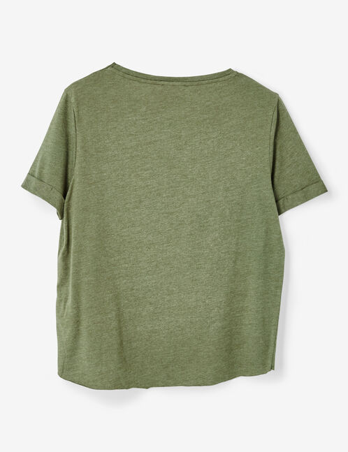 top tee-shirt à message kaki