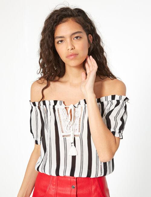 Macramé striped blouse