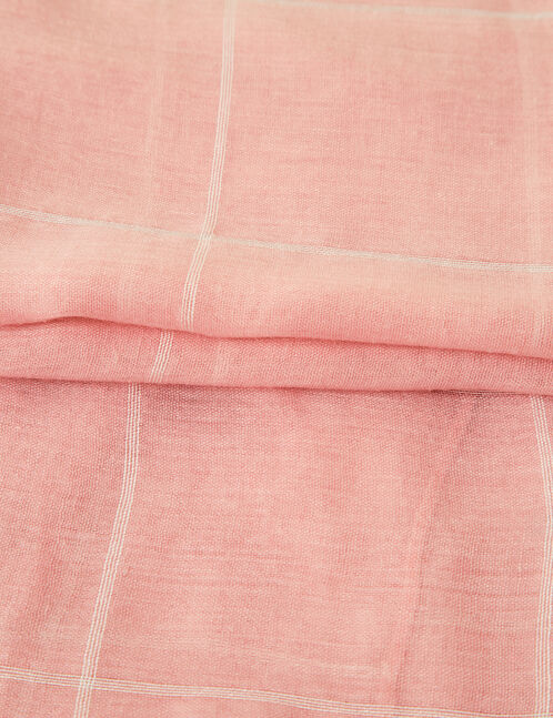 foulard à carreaux rose clair et blanc