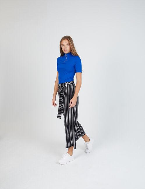 pantalon large rayé noir et blanc