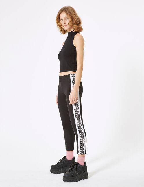 Black leggings with side trim detail