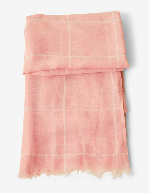 Light pink and white checked scarf