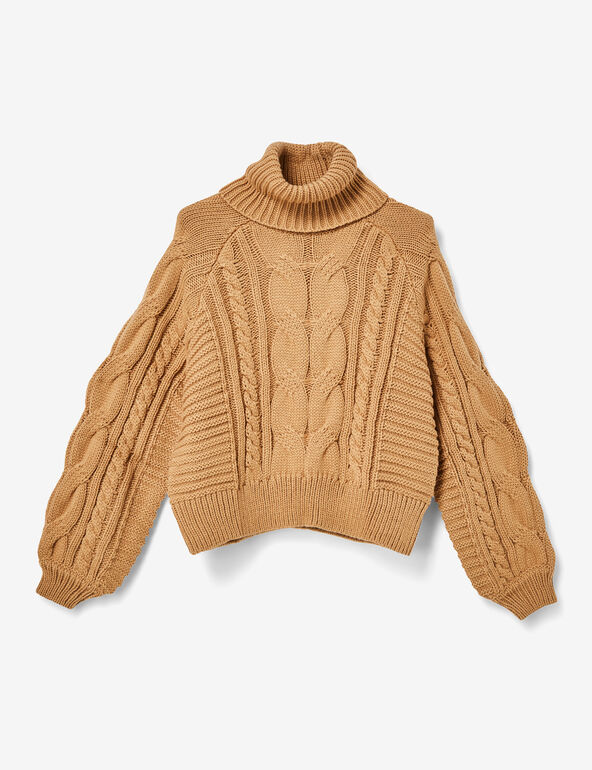 Beige braided knit polo neck jumper
