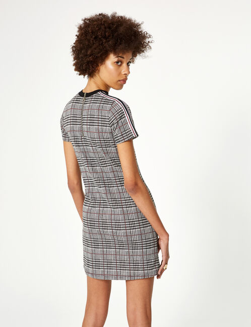 Grey, black and red checked dress