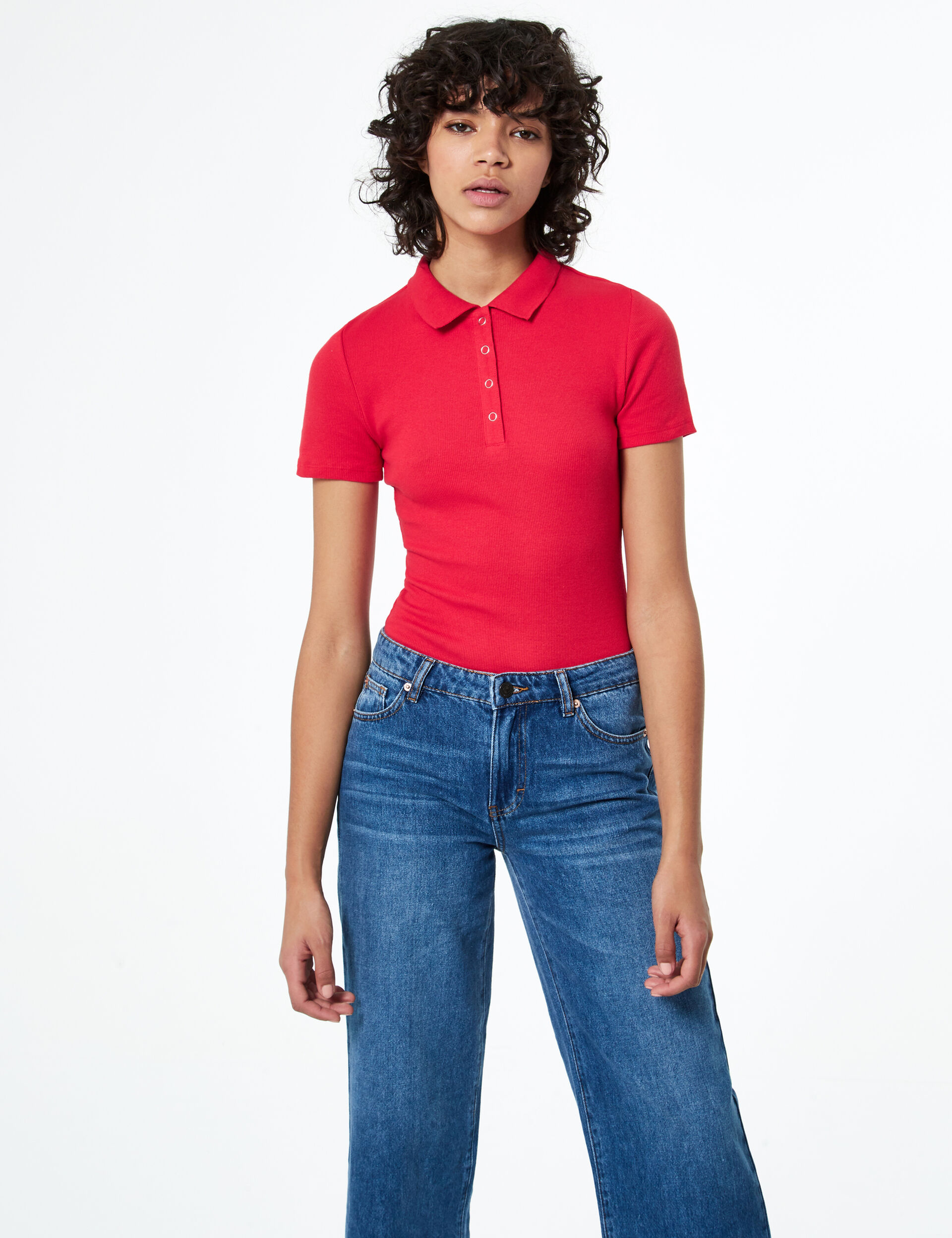 Ribbed polo-style bodysuit