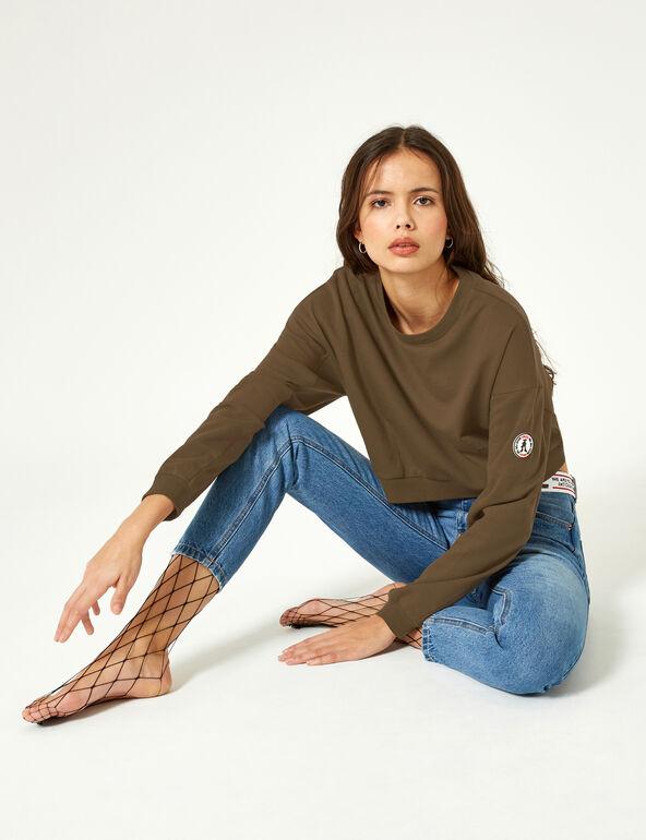 Cropped khaki sweatshirt