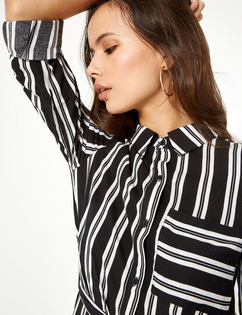 Black and white striped shirt dress