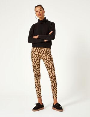 legging léopard beige et noir