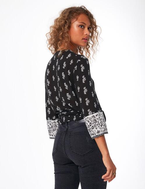 blouse noire imprimé