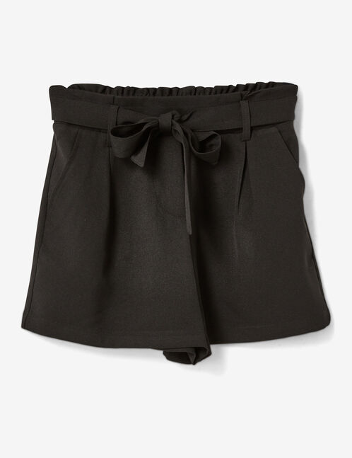 Black tailored shorts with tie detail
