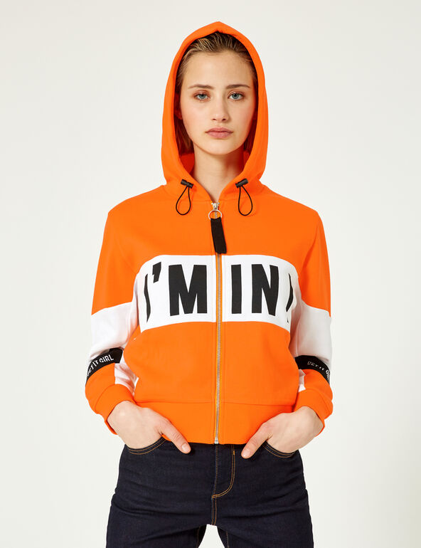 Orange, white and black zip-up hoodie with text design detail