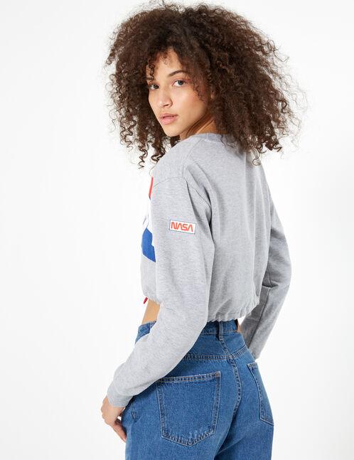 """Grey marl """"NASA"""" sweatshirt"""