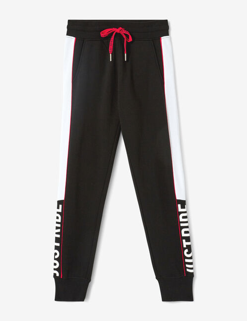 """Black, white and red """"just ride"""" joggers"""