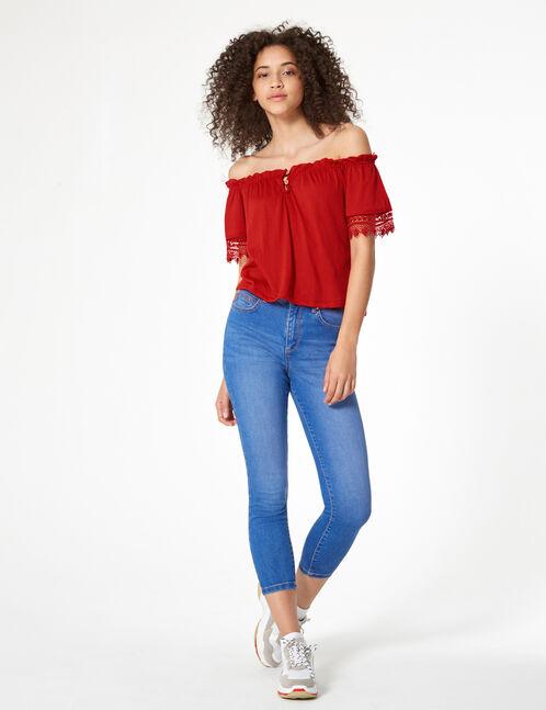 blouse avec macramé rouge