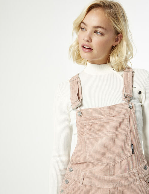 ribbed dungaree shorts