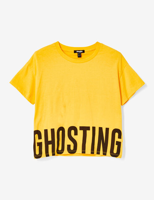 Yellow T-shirt with text design detail