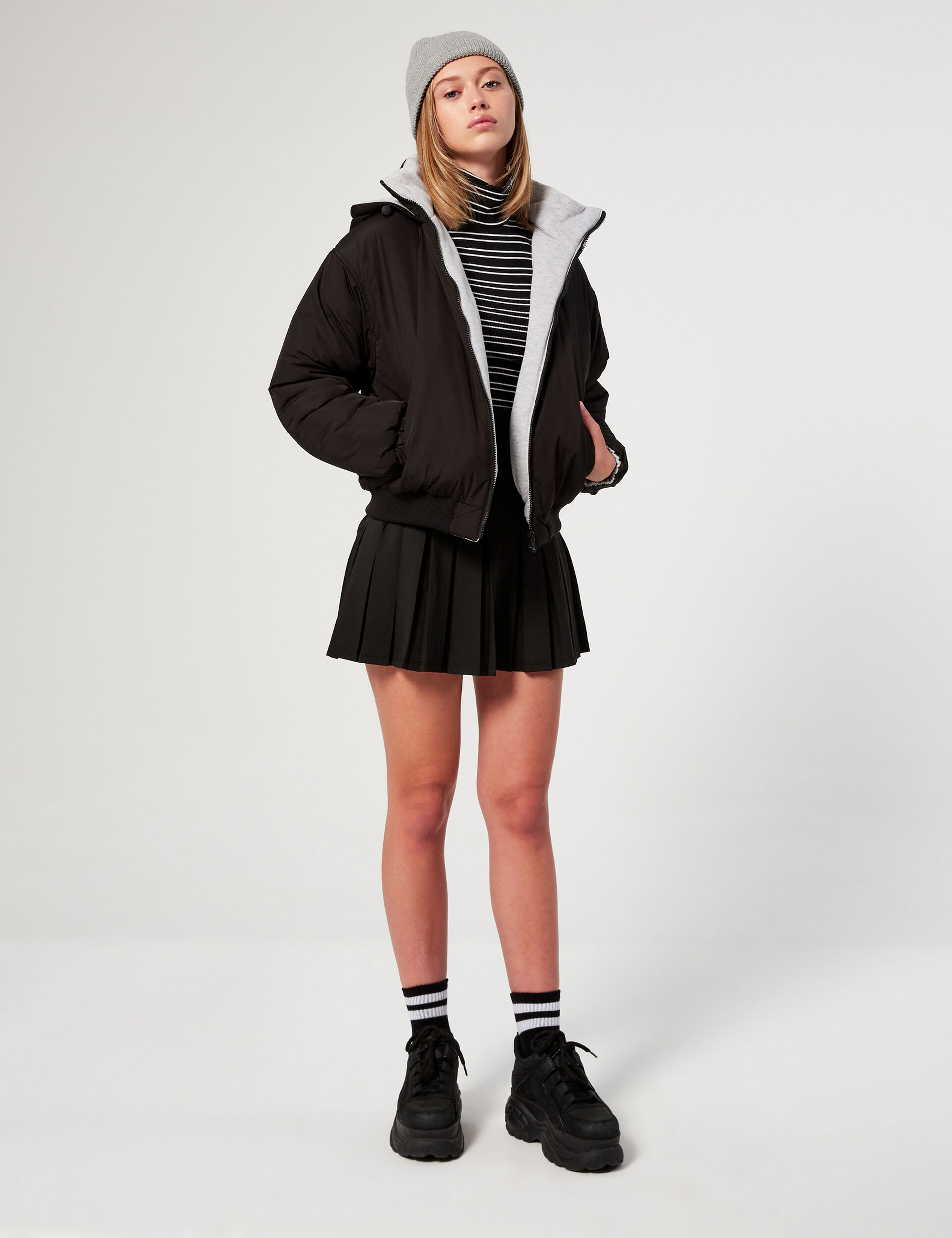 Reversible blouson jacket with hood