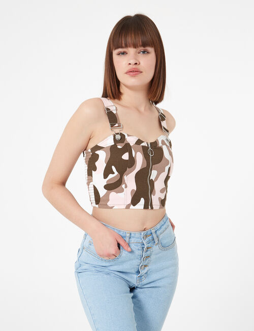 Camouflage zipped strappy crop top