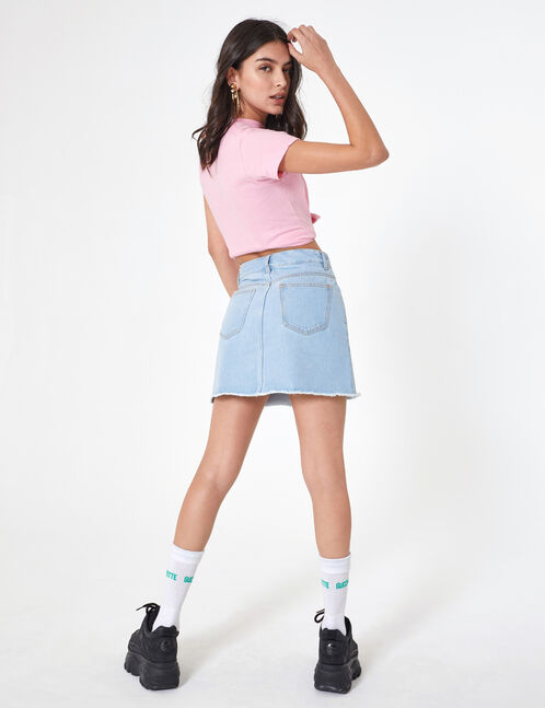 jupe en jean zippée bleu clair