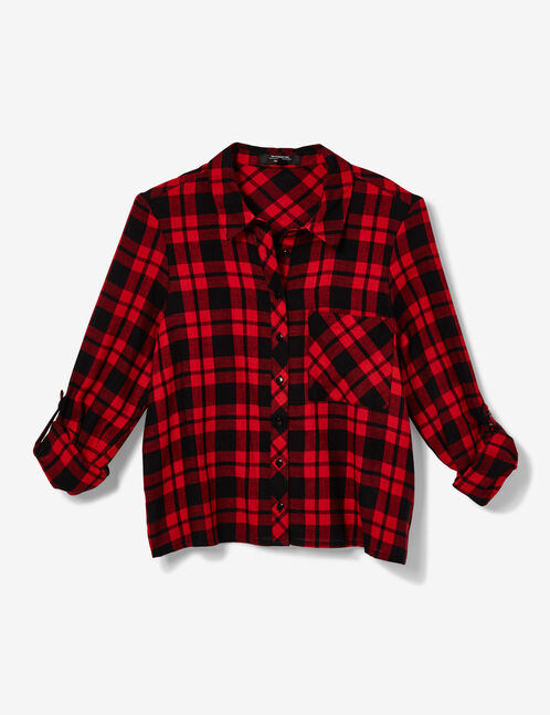 Black and red cropped checked shirt