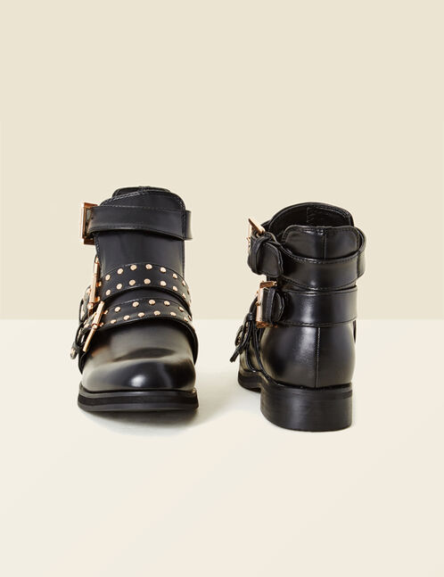 Black ankle boots with studded strap detail