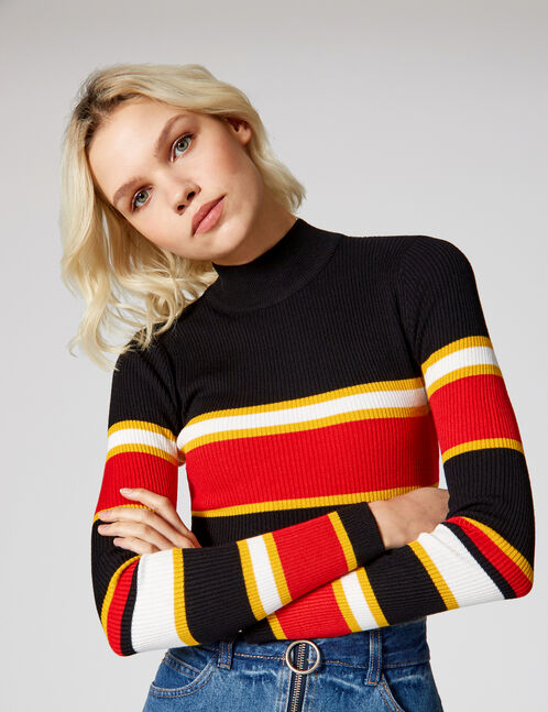Black, red, ochre and white striped ribbed jumper