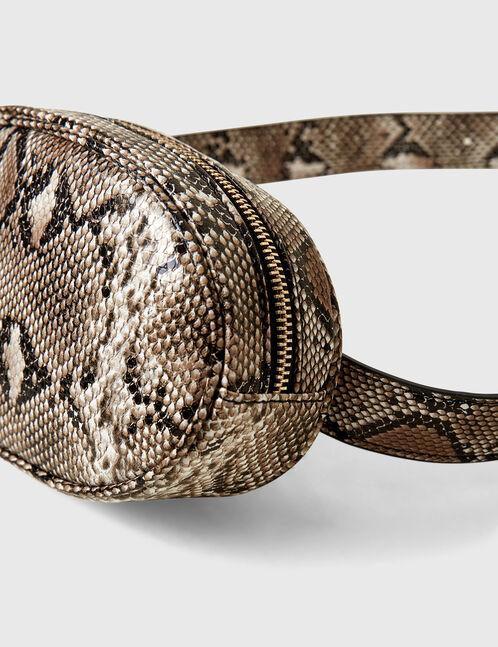 Beige and black python skin bum bag