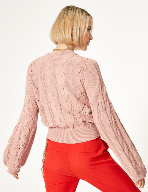 Pale pink cable and openwork knit jumper