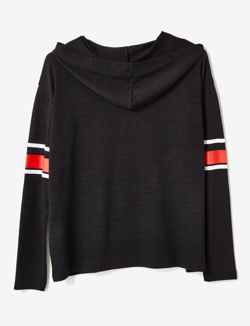 tee-shirt à capuche noir