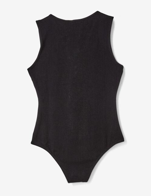 Black bodysuit with text design detail