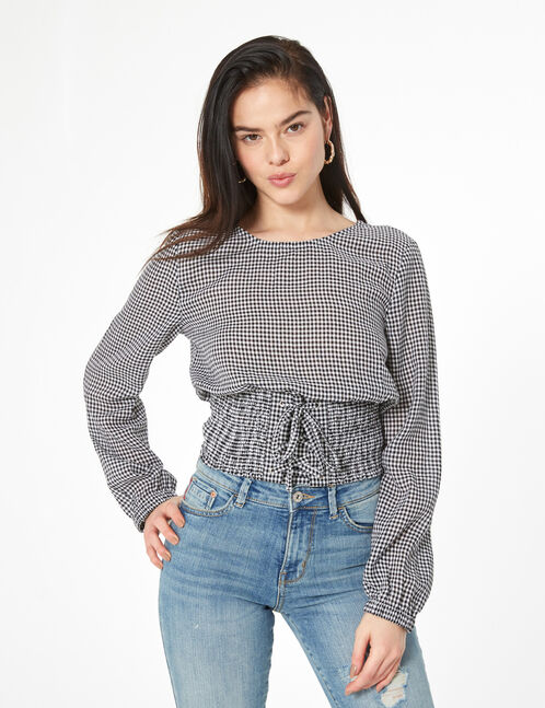 gingham blouse with lacing
