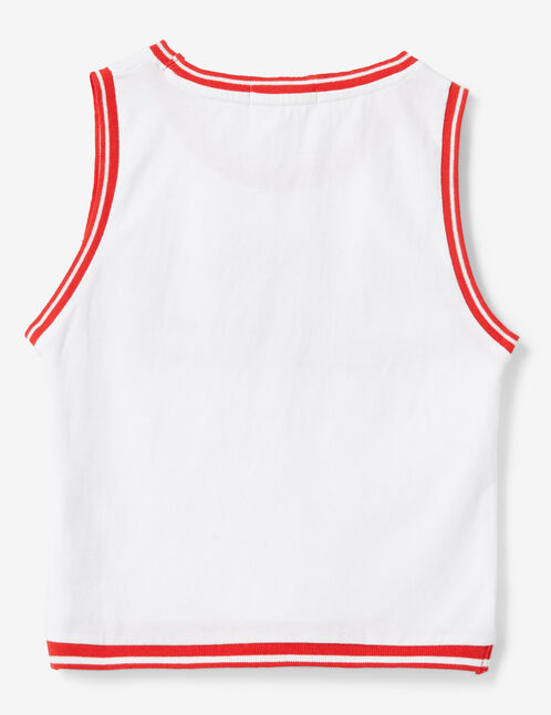 "White and red ""chica"" tank top"