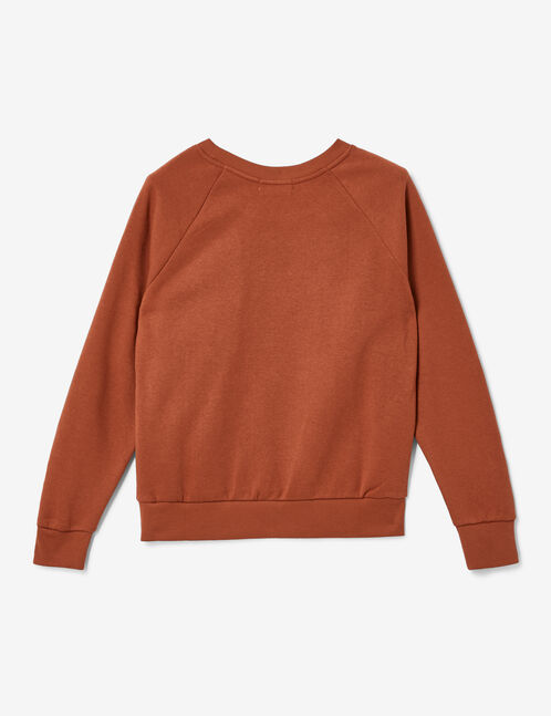 Rust-coloured sweatshirt with text design detail