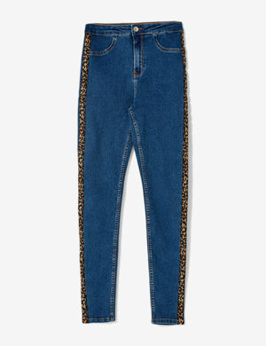 jegging avec bandes léopard medium blue