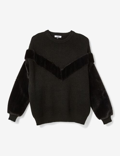 Black mixed fabric jumper