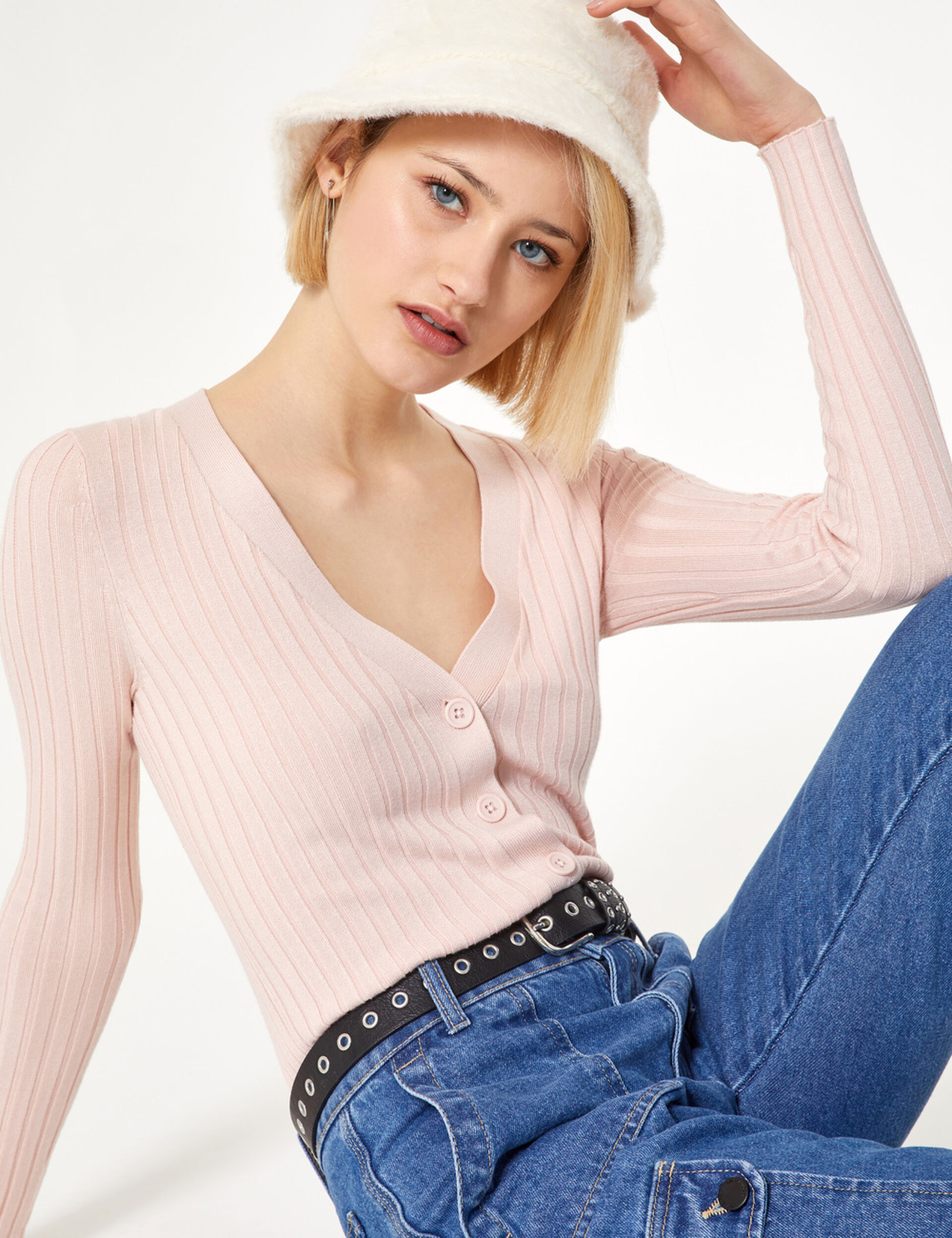 Light pink ribbed cardigan