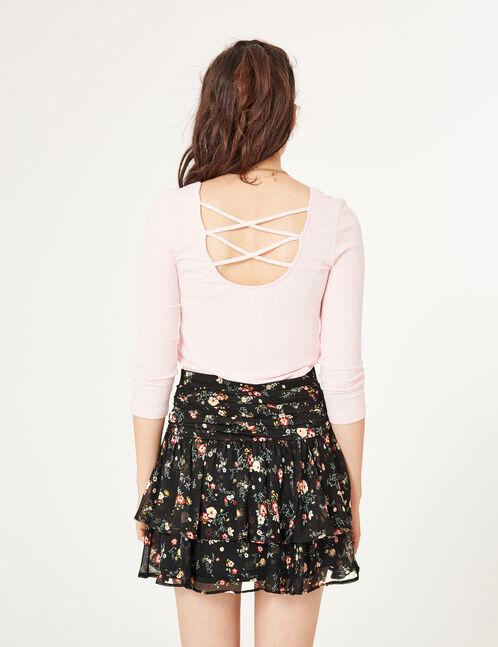tee-shirt avec liens dos rose clair