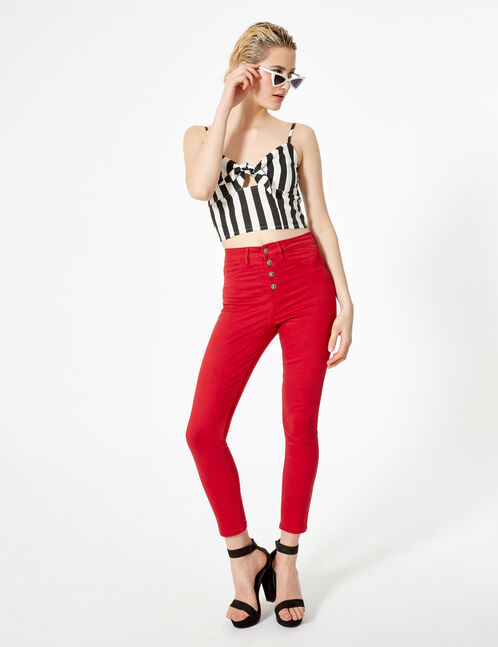 Red high-waisted jeggings