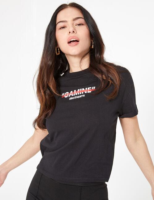 tee-shirt don't call me gamine noir