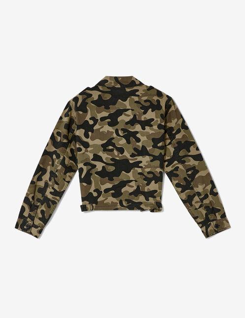 Cropped khaki camouflage jacket