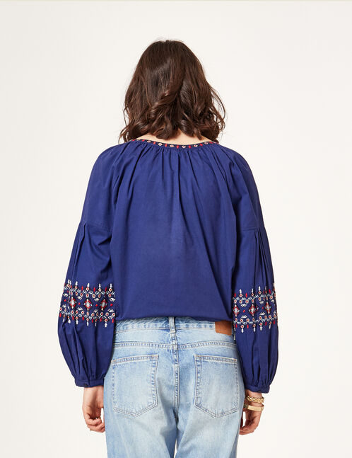 Navy blue blouse with Aztec embroidery detail