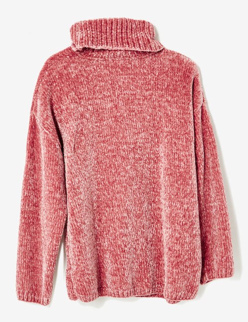 pull chenille col roulé rose clair