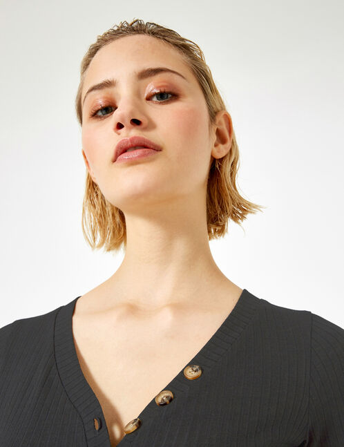Black buttoned bodysuit