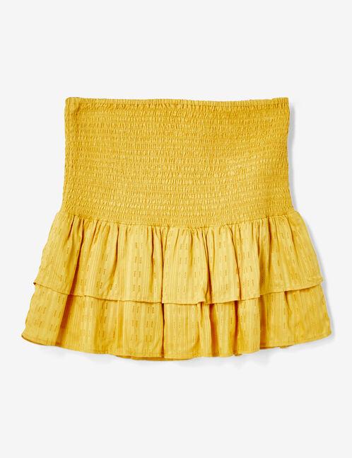 Ochre smocked skirt with frill detail