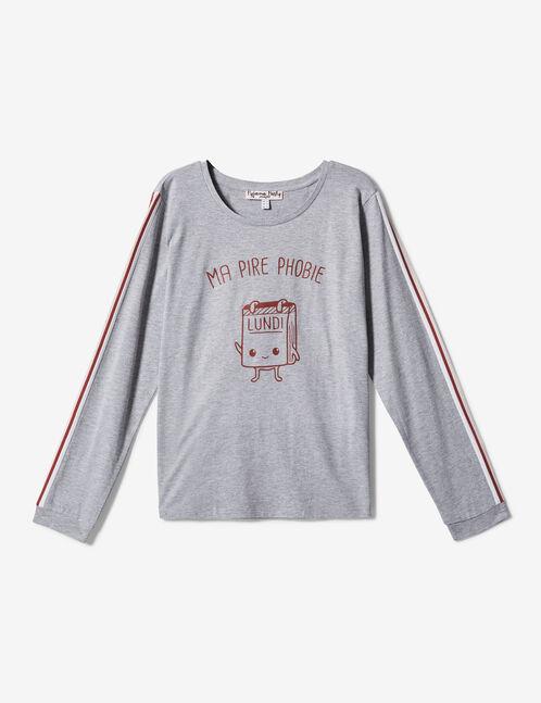 set pyjama long gris, rouille et rose clair