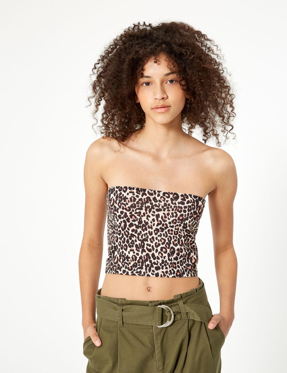 43597fadae52 Camel and black leopard print bandeau top woman • Jennyfer